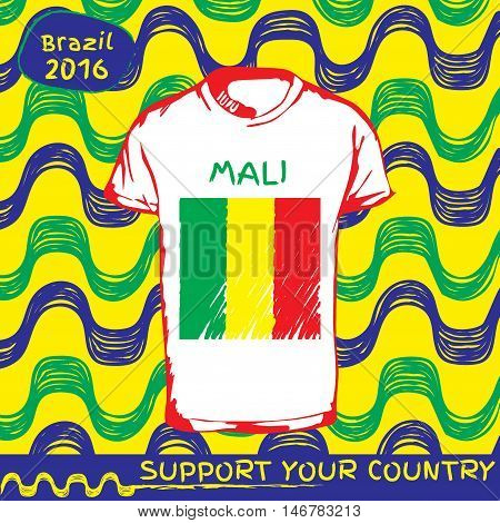 Hand drawn vector. vector pattern with t-shirt with country flag. Support your country. National flag. Mali