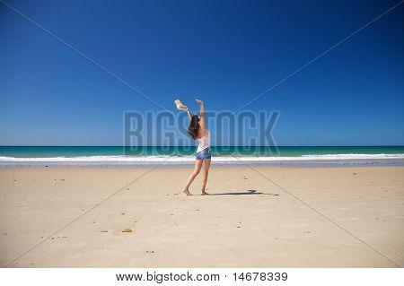 Happy Woman At Zahara Beach