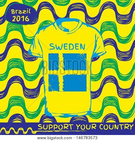 Hand drawn vector. vector pattern with t-shirt with country flag. Support your country.National flag. Sweden