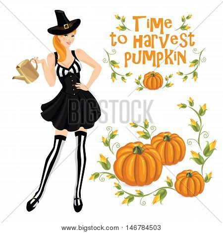 Vector illustration of redhead girl in witch costume holding watering pot in her hand. Pumpkin isolated on white background