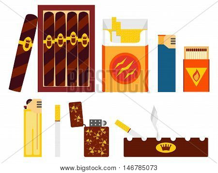 Set of cigarettes, cigars, lighters and ashtray in flat vector style.