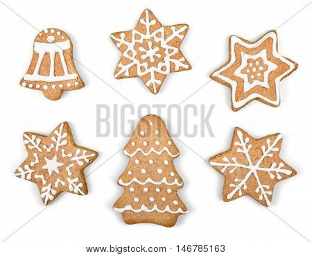 Gingerbread cookies on white background. Snowflake, star. Isolated white background