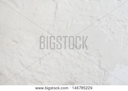 Close-up of white plastered wall background. Structural stucco pattern. Concrete side
