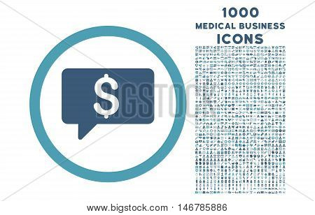 Money Message rounded glyph bicolor icon with 1000 medical business icons. Set style is flat pictograms, cyan and blue colors, white background.