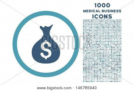 Money Sack rounded glyph bicolor icon with 1000 medical business icons. Set style is flat pictograms, cyan and blue colors, white background.