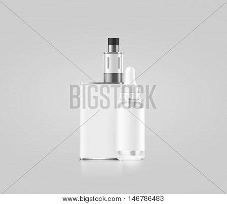 Blank white vape mod box with juice bottle mockup isolated clipping path 3d illustration.