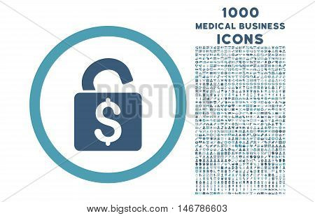 Unlock Banking Lock rounded glyph bicolor icon with 1000 medical business icons. Set style is flat pictograms, cyan and blue colors, white background.
