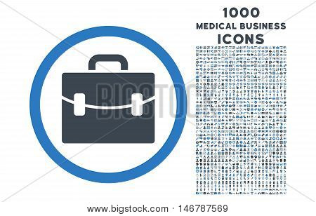 Case rounded glyph bicolor icon with 1000 medical business icons. Set style is flat pictograms, smooth blue colors, white background.