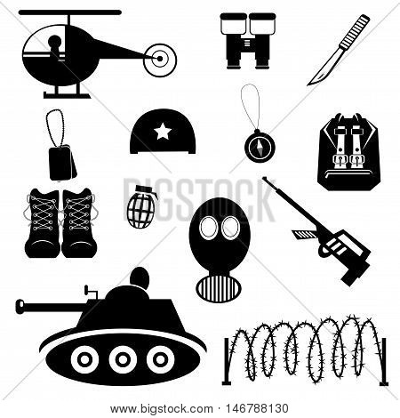 Collection of vector black military icons on white background.