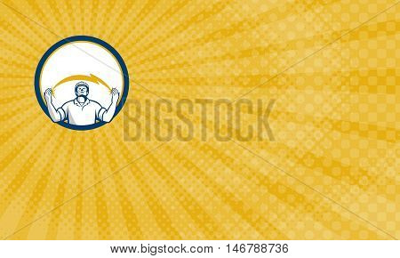 Business Card showing Illustration of an electrician looking up and hands raised with lightning bolt struck in both hands viewed from the front set inside circle done in retro style.