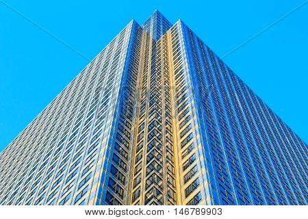 Exterior of One Canada Square in Canary Wharf financial district in London