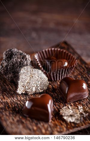 Chocolate praline with truffle, gourmet chocolate, dessert