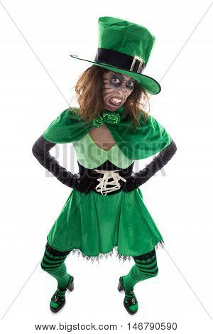 Evil Green Goblin Girl, Isolated On White, Concept Irish Traditions