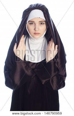 Photo of young catholic nun on white background.