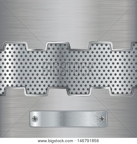 Metal background with perforated frame and brushed metal plate with screw. Vector illustration