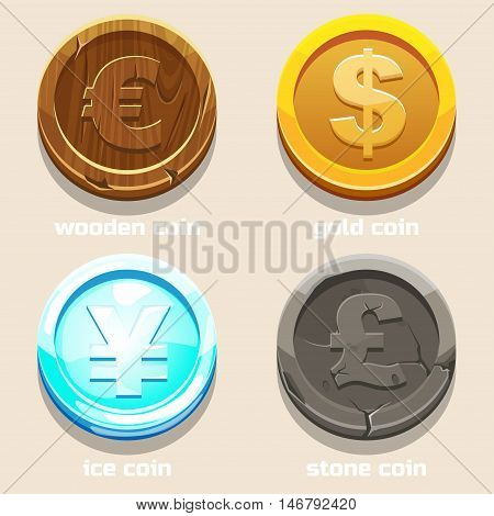 gold stone ice and wood coins texture coins of different currencies