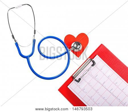 Stethoscope, cardiogram and red heart on white background