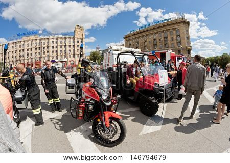 Specially Equipped Firefighting Motorcycle Armed With Special Fire Brigade