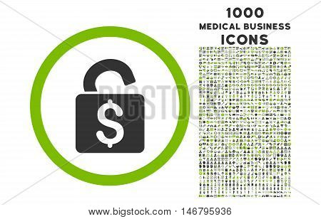 Unlock Banking Lock rounded vector bicolor icon with 1000 medical business icons. Set style is flat pictograms, eco green and gray colors, white background.