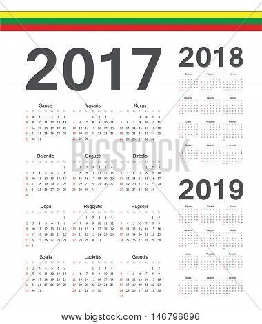 Set Of Lithuanian 2017, 2018, 2019 Year Vector Calendars