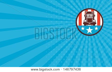 Business card showing illustration of a truck viewed from front set inside circle with american stars and stripes in the background done in retro style.