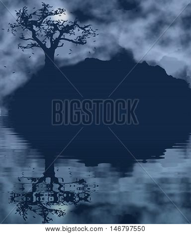 Autumn tree landscape with water reflection. Melancholic nature theme