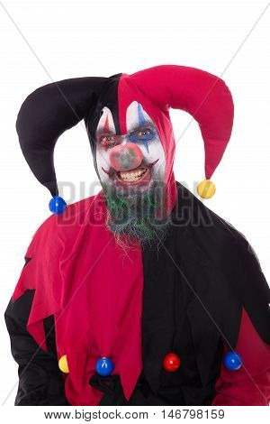 Portrait Of A Evil Clown, Isolated On White