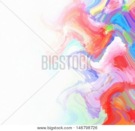 Multicolored digital painting background in pink red purple blue green white and yellow colors with copy space for your text