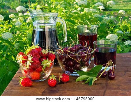 Cherry And Strawberry Juice In Glass And Carafe