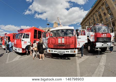 VOLGOGRAD - SEPTEMBER 10: Exhibition of special equipment of firemen and auxiliary devices for the control of fires in the open air. September 10 2016 in Volgograd Russia.