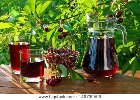 Cherry Juice In Carafe And Glass