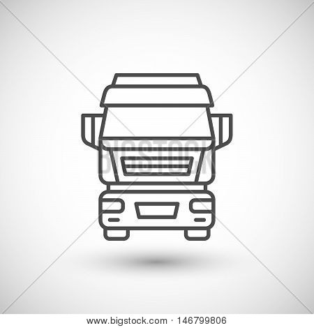 Commercial truck line icon isolated on white. Vector illustration