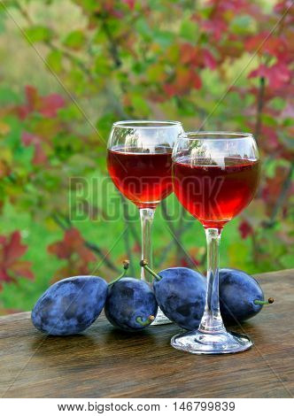 Plum Drink In A Glass Wineglass