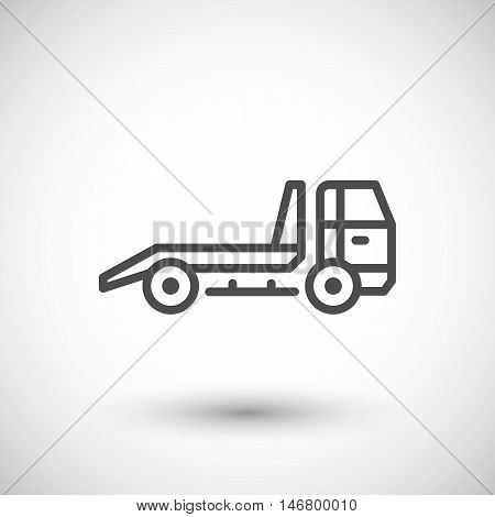 Tow truck line icon isolated on grey. Vector illustration