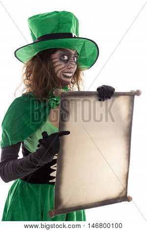 Green Goblin Girl Holding A Scroll With Copyspace, Isolated On White