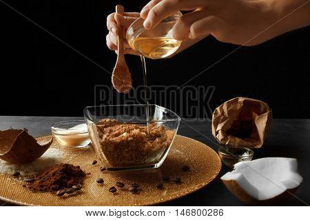 Woman preparing homemade scrub