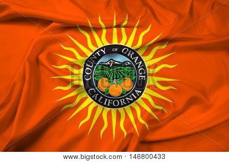 Waving Flag Of Orange County, California, Usa