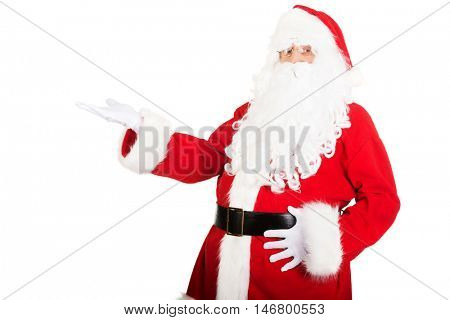 Santa Claus holding something invisible
