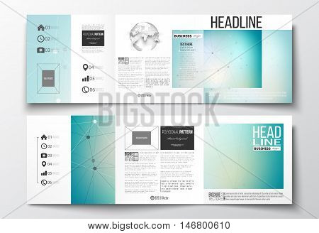 Vector set of tri-fold brochures, square design templates with element of world globe. Molecular construction with connected lines and dots, scientific or digital design pattern on gray background.