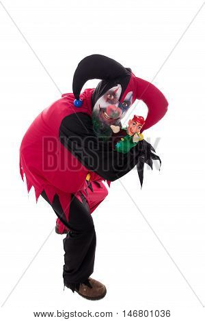 Evil Clown Holding A Punch, Isolated On White, Concept Halloween And Horror