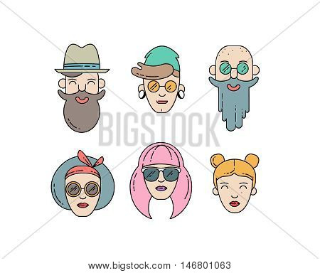 Young stylish people linear vector illustration. Urban citizen character set. Hipster boys and girls avatar set isolated in white background.