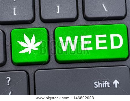 Drug Concept With Weed Text On Keypad