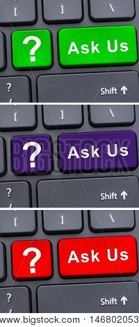 Colorful Keyboard Buttons With Ask Us Text