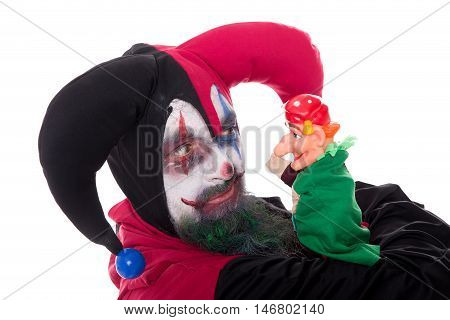 Jester With A Hand Puppet, Isolated On White