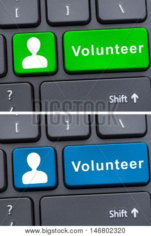 Conceptual Keyboard In Closeup With Volunteer Text