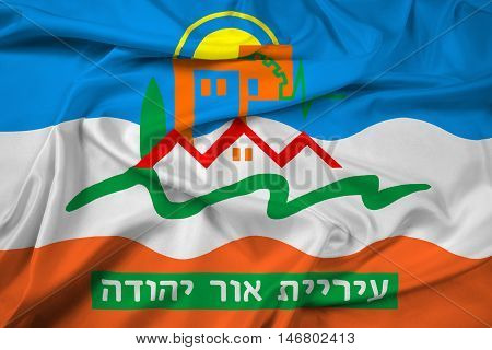 Waving Flag of Or Yehuda Israel, with beautiful satin background. 3D illustration