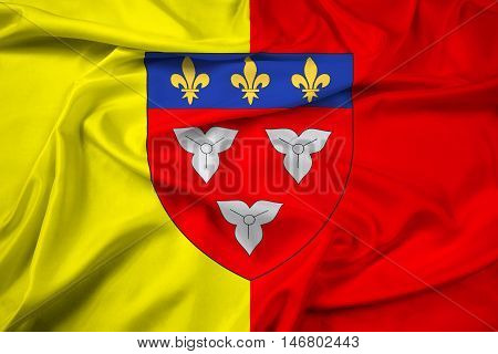 Waving Flag Of Orleans With Coat Of Arms, France