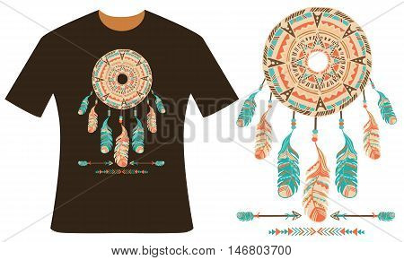 Design for your t-shirt. Dreamcatcher, feathers and arrows. Style boho. Hand drawn vector illustration.