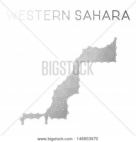Western Sahara Polygonal Vector Map. Molecular Structure Country Map Design. Network Connections Pol