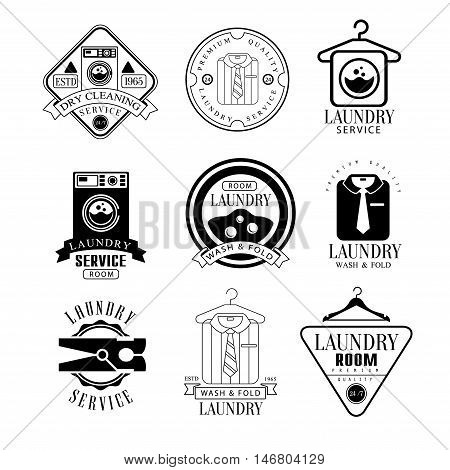 Laundry And Dry Cleaning Service Black And White Label Set Of Traditional Style Flat Vector Design Templates On White Background